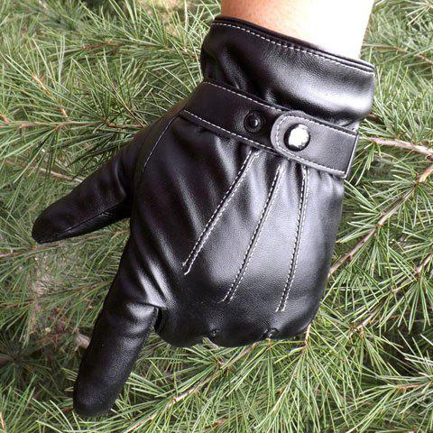 Pair of Stylish Button Stripy Touch Screen Faux Leather Gloves For Men
