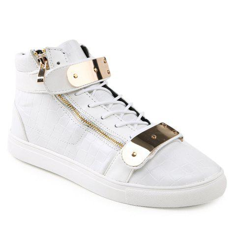 Punk Crocodile Print and Metal Design Casual Shoes For Men - WHITE 44