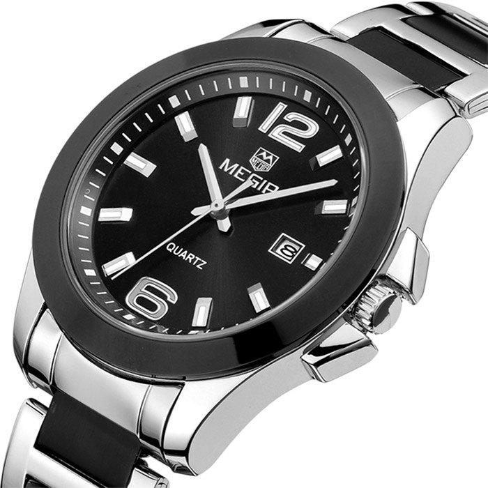 MEGIR 5006G Date Display Male Japan Quartz Watch with Stainless Steel Strap 30M Water Resistance - BLACK