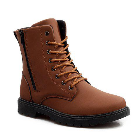 Stylish Zipper and Solid Color Design Boots For Men - LIGHT BROWN 44
