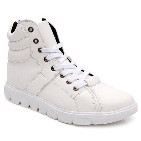 Fashionable Solid Color and PU Leather Design Casual Shoes For Men - WHITE 39