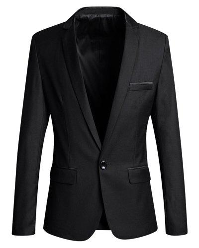 Slimming Lapel Modish Solid Color Pocket Hemming Long Sleeve Polyester Men's Blazer - BLACK L