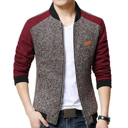 Fitted Stand Collar Trendy Labeling Color Block Fabric Splicing Long Sleeve Polyester Men's Jacket - RED M