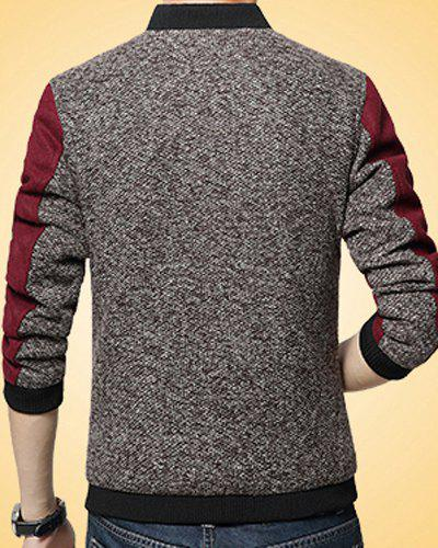 Fitted Stand Collar Trendy Labeling Color Block Fabric Splicing Long Sleeve Polyester Men's Jacket - RED 3XL