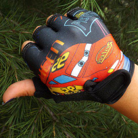 Pair of Stylish Cartoon Car Pattern Outdoor Sport Fingerless Gloves For Kids - BLACK