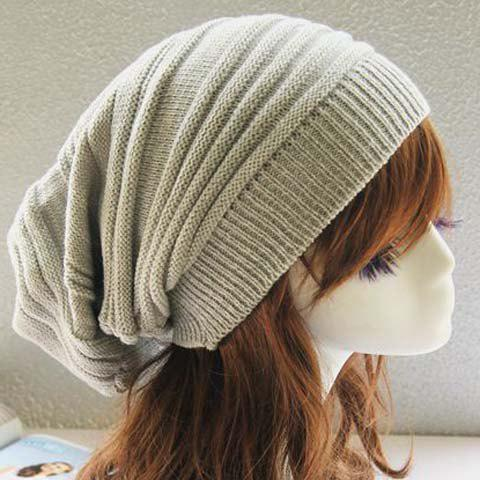 Chic Color Block Women's Elastic Knitted Hat - LIGHT GRAY