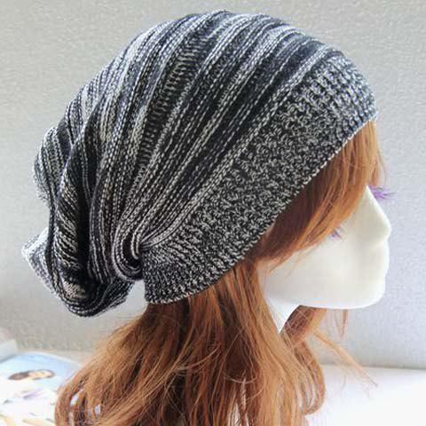 Chic Color Block Women's Elastic Knitted Hat - BLACK