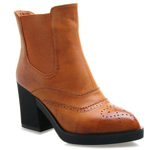 Stylish Pointed Toe and Elastic Design Boots For Women - YELLOW 37