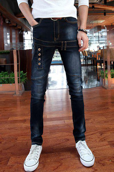 Zipper Fly Button Embellished Suture Splicing Design Narrow Feet Slimming Men's Jeans - DEEP BLUE 31
