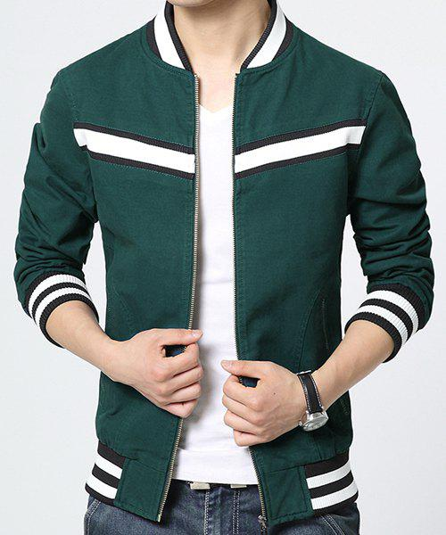 Color Block Stripe Rib Splicing Stand Collar Long Sleeve Slimming Men's Coat - GREEN L