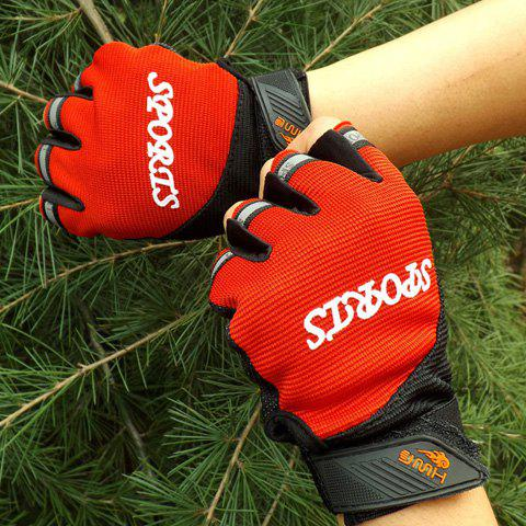Pair of Stylish Letters Shape Embellished Fingerless Gloves For Kids - RED