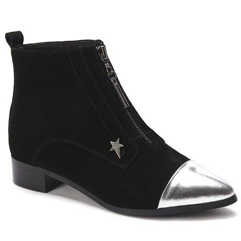 Fashionable Color Block and Pointed Toe Design Ankle Boots For Women - BLACK 39