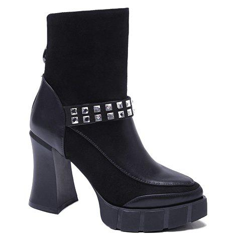 Trendy Rhinestones and Splicing Design Women's Boots - BLACK 37