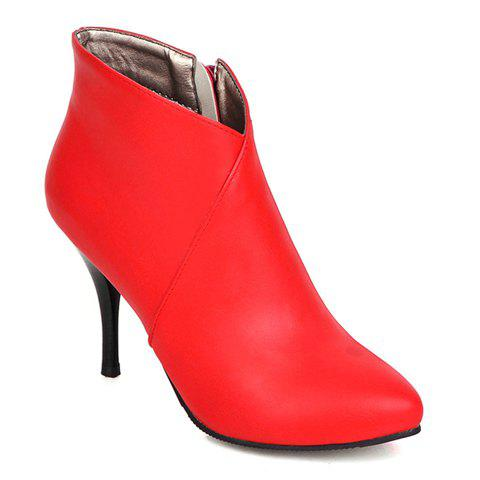 Concise Solid Color and Zipper Design Women's Boots - RED 34