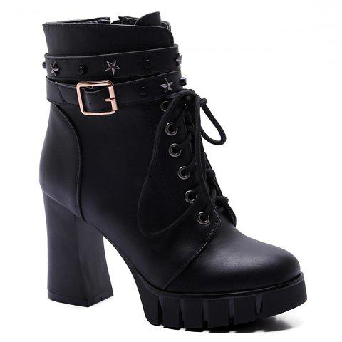 Punk Style Pentagram and Lace-Up Design Boots For Women - BLACK 39