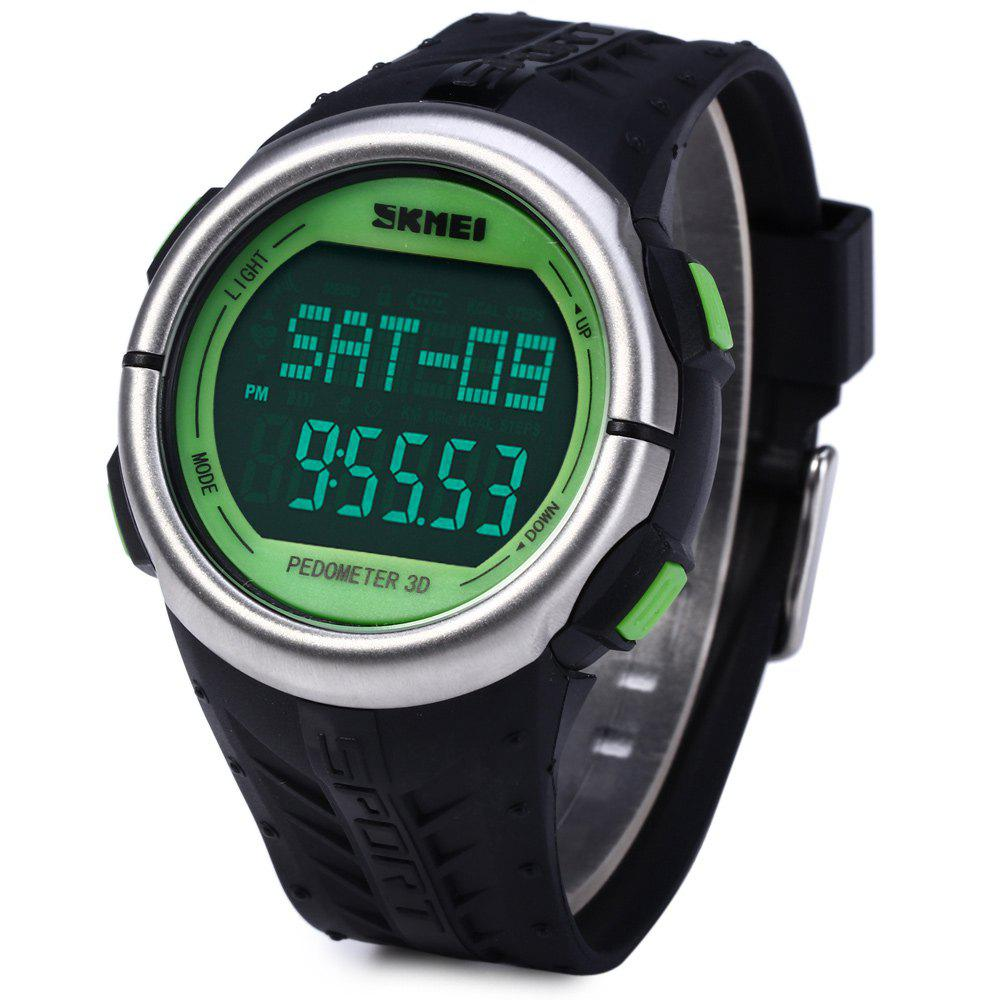 Skmei 1058 Heart Rate Sports LED Watch with Pedometer Function Water Resistance - GREEN