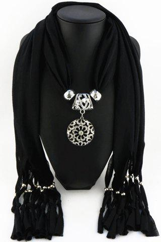 Chic Hollow Out Metal Pendant and Tassel Embellished Solid Color Scarf For Women