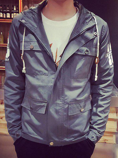 Vintage Hooded Stereo Patch Pocket Letters Number Print Fitted Men's Long Sleeves Safari Jacket