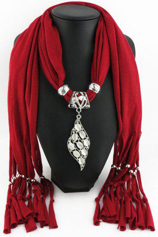 Chic Faux Gem Hollow Out Metal Pendant Tassel Solid Color Scarf For Women