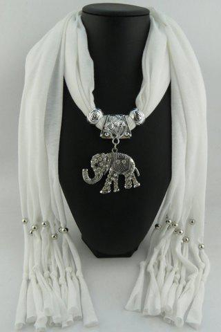 Chic Rhinestone Elephant Pendant Tassel Solid Color Scarf For Women