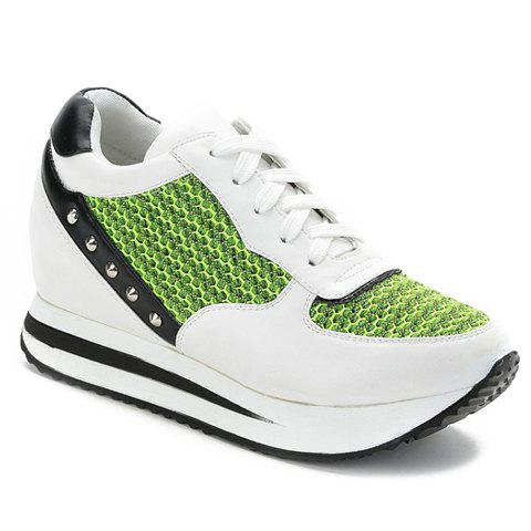 trendy colour block and lace up design athletic shoes for