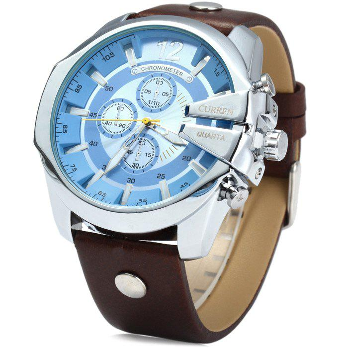 Curren 8176 Men Quartz Watch with Date Display Leather Band Decorative Sub-dials curren 8193 big numbers quartz watch with date display for men