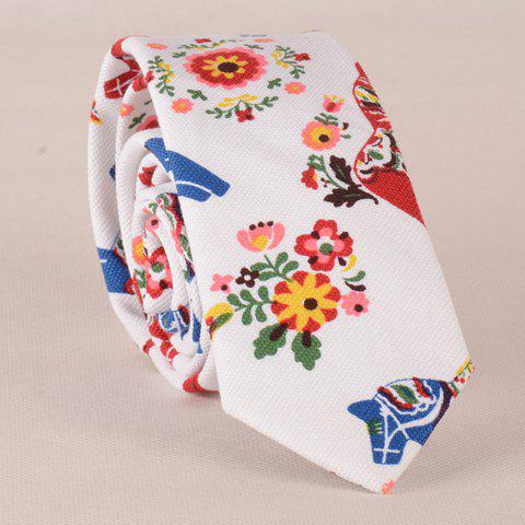 Stylish Flower Leaf Ethnic Pattern Colored Tie For Men -  WHITE