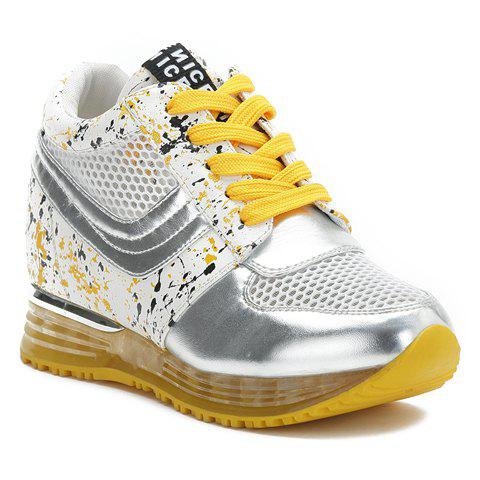 Stylish Gauze and Colour Block Design Athletic Shoes For Women - YELLOW 38