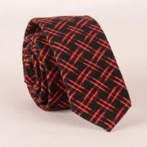 Stylish Latticed Pattern Red and Black Tie For Men