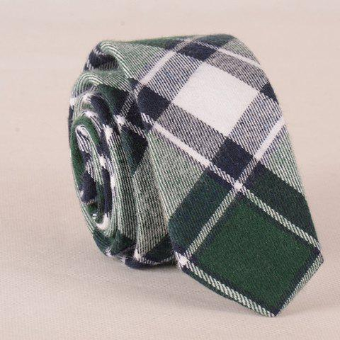 Stylish Tartan Pattern Green Splice Tie For Men