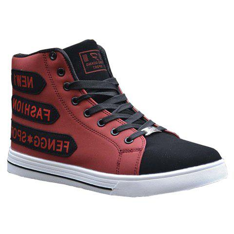 Trendy Letters and Color Block Design Cauasl Shoes For Men - RED 40