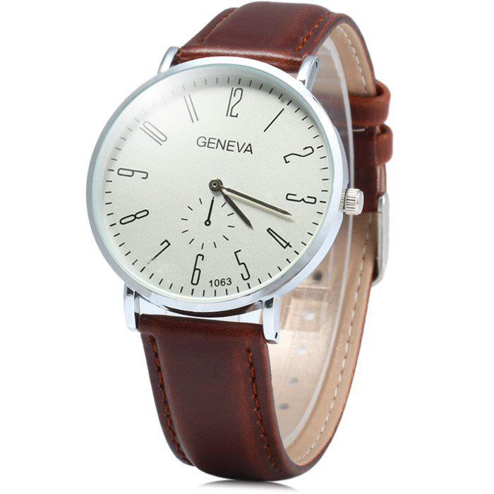 Geneva 1063 Decorative Sub-dial Quartz Watch with Leather Band for Men - BROWN