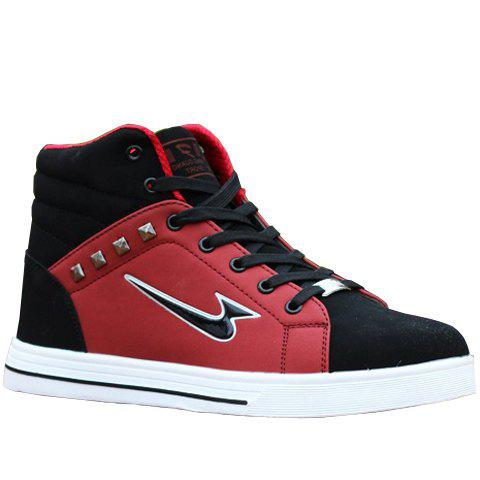 Stylish Rivets and High-Top Design Casual Shoes For Men - RED 43