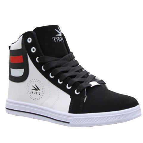 Color Block Leather High Top Sneakers - WHITE 42