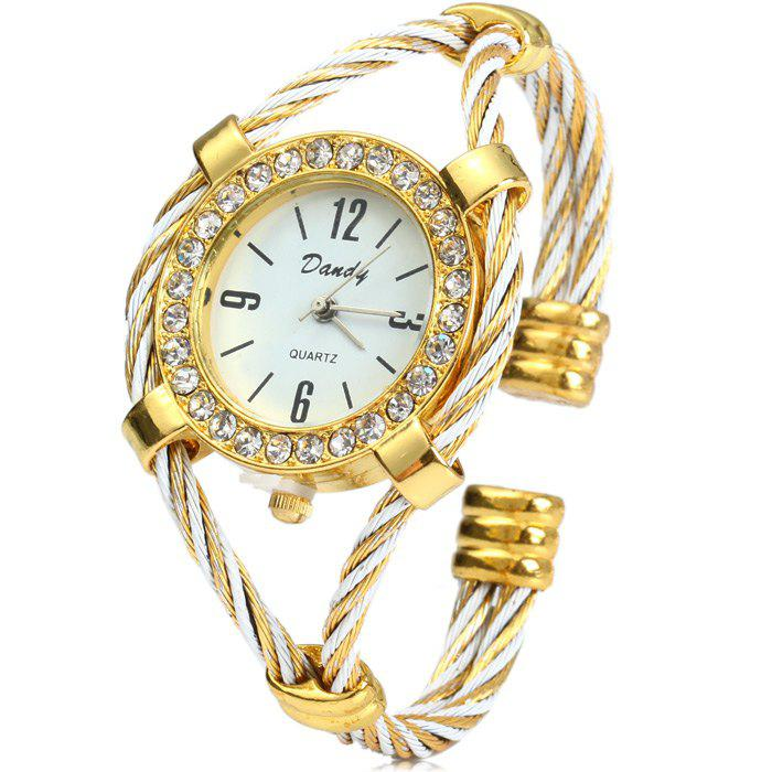 Dandy 221 Ladies Quartz Watch Diamond Case Bracelet with Steel Wire Strap - WHITE