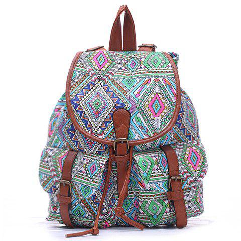 National Style Printed and Buckle Design Satchel For Women - CYAN