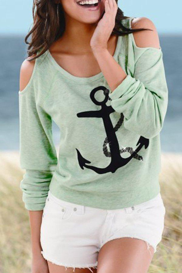 Fashionable Scoop Neck Anchor Print Long Sleeve T-Shirt For Women fashionable long sleeve dinosaur print boy s t shirt