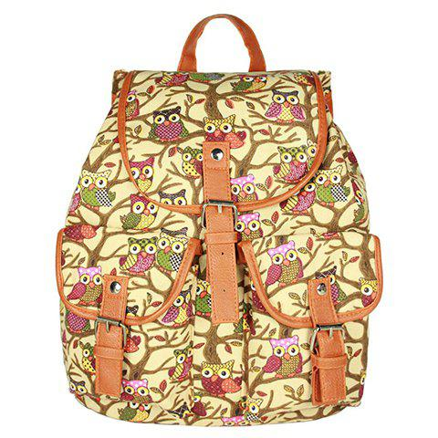 Preppy Owl Pattern and Buckles Design Women's Satchel - BEIGE