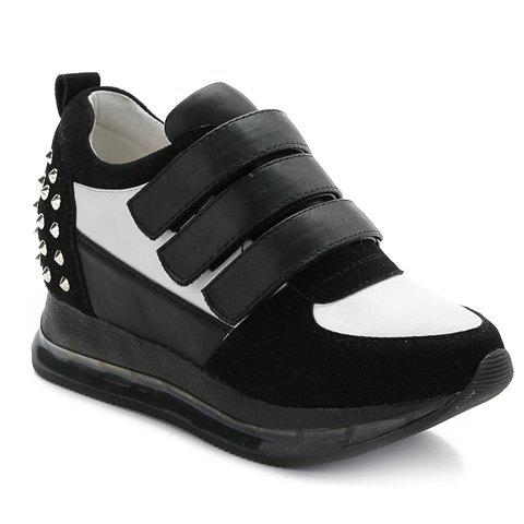 Fashion Rivets and Splicing Design Athletic Shoes For Women - BLACK 36