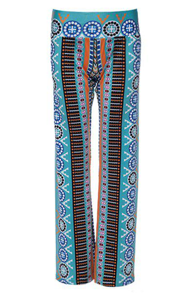 Casual Women's Ethnic Print Wide-Leg Pants - WATER BLUE M