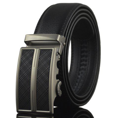 Stylish Business Solid Color Alloy Automatic Buckle Belt For Men -  BLACK