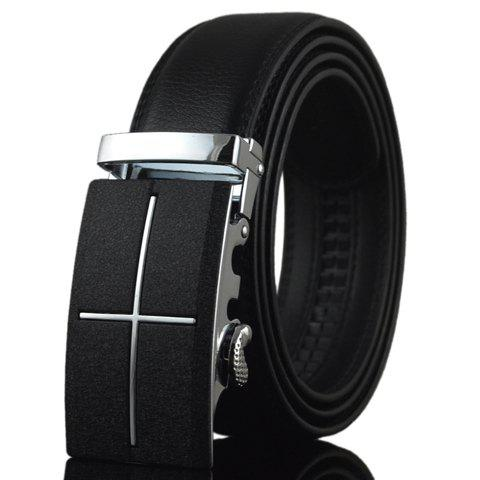 Stylish PU Leather Alloy Automatic Buckle Men's Belt - BLACK
