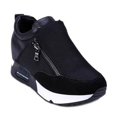 Stylish Zipper and Splicing Design Women's Athletic Shoes - BLACK 39