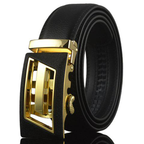 Chic High-Quality Double-Deck PU Leather Alloy Automatic Hollow Out Buckle Belt For Men - BLACK