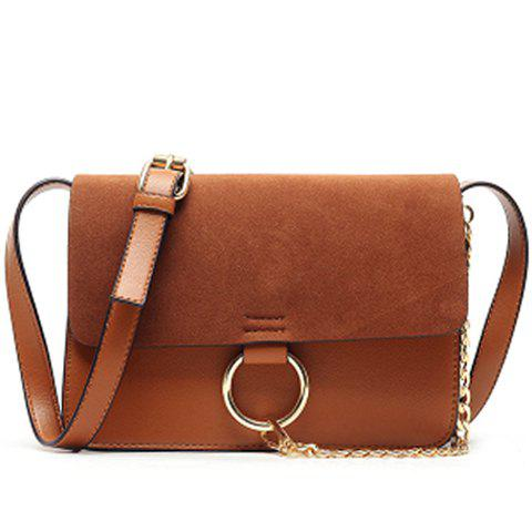 Elegant Suede and Chain Design Crossbody Bag For Women - BROWN