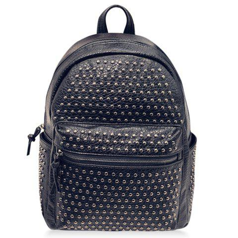 Preppy Style Black and Studs Design Satchel For Women - BLACK