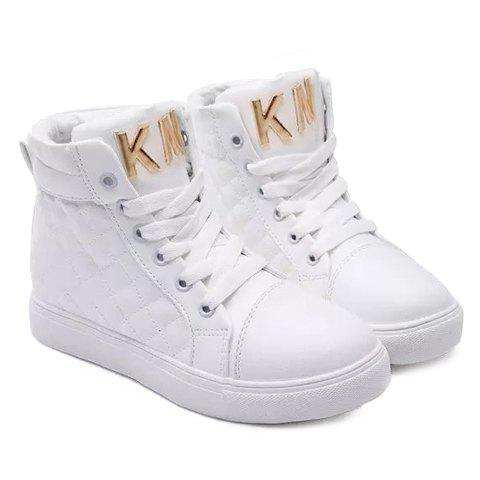 Stylish Solid Colour and Metallic Design Boots For Women - WHITE 40