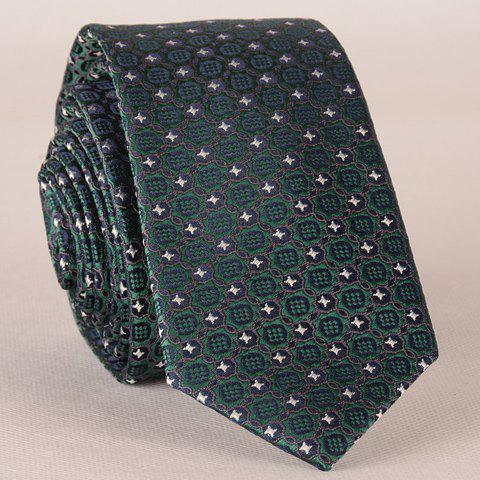 Stylish Fulled Embroidery Jacquard Green Tie For Men