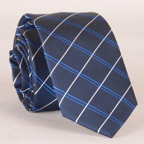 Stylish Plaid Embroidery Embellished Men's Tie - CADETBLUE