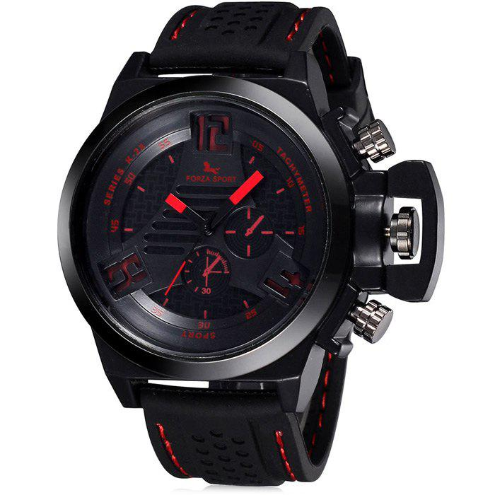 FORZA SPORT 2497 Japan Quartz Watch with Decorative Sub-dials Luminous Pointers Silicone Band for Men - RED